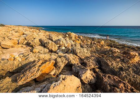 Ocean view from the Cap de Ses Salines Mallorca Baleares