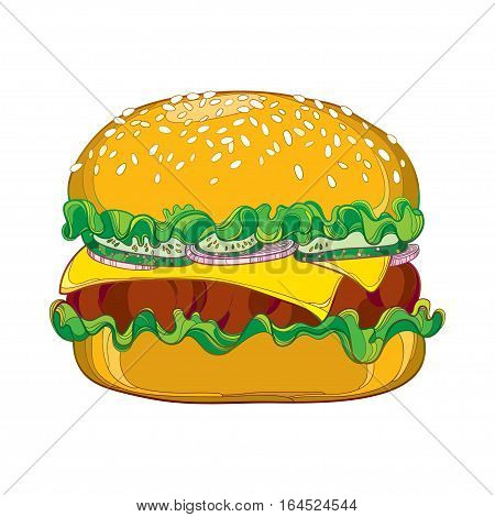 Vector outline cheeseburger with cheese, grilled beef, cucumber slice, lettuce salad, onion and sesame seed isolated on white background. Fast food elements in contour style for design food menu.
