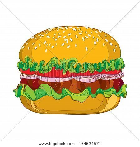 Vector illustration of outline classic hamburger with grilled beef, tomatoes, lettuce, onion and sesame seed isolated on white background. Fast food elements in contour style for design food menu.