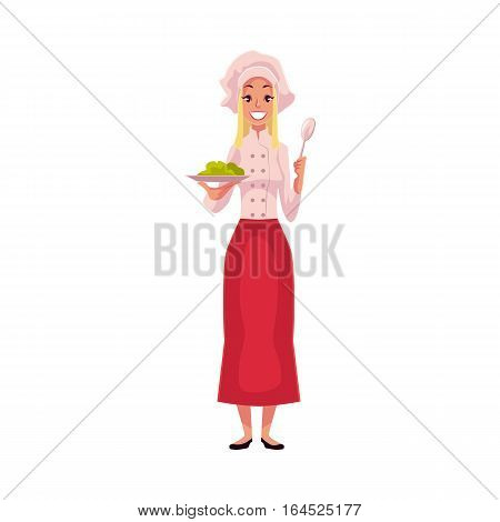 Young and handsome female chef, cook, waitress in white uniform holding a plate, cartoon vector illustration isolated on white background. Full length portrait of restaurant, cafe female cook
