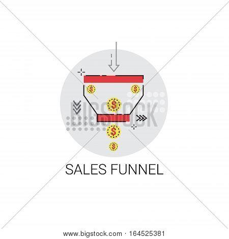 Sales Funnel Analysis Concept Finance Digram Data Icon Vector Illustration