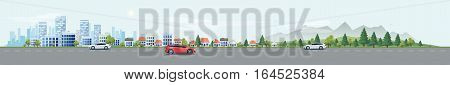 Flat vector cartoon style illustration of urban landscape street with cars skyline city office buildings family houses in small town and mountain with green trees in backround. Traffic on the road.
