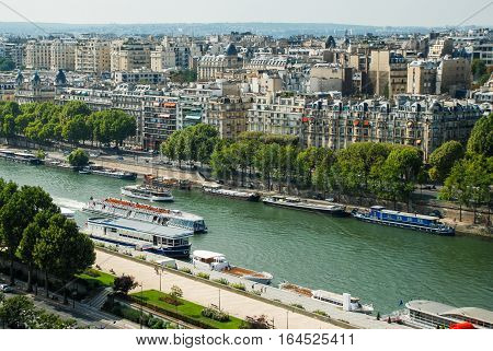 Aerial view at streets in Paris France