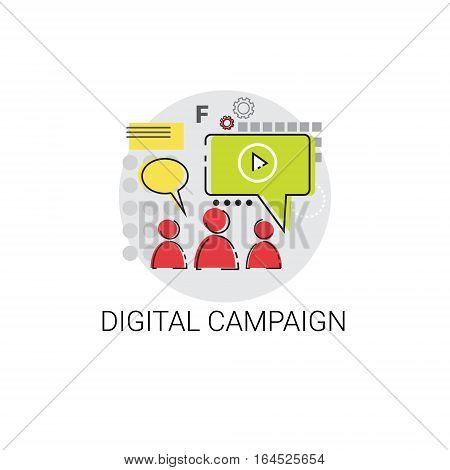 Digital Campaign Content Marketing Icon Vector Illustration