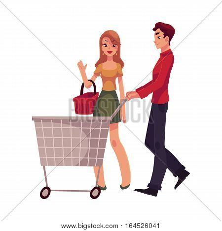 Man pushing shopping cart and woman holding basket, cartoon vector illustration isolated on white background. Full length portrait of young man and woman doing shopping, consumerism concept