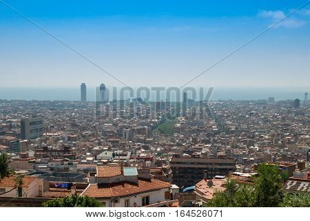 Aerial city view of central part of Barcelona Spain Europe