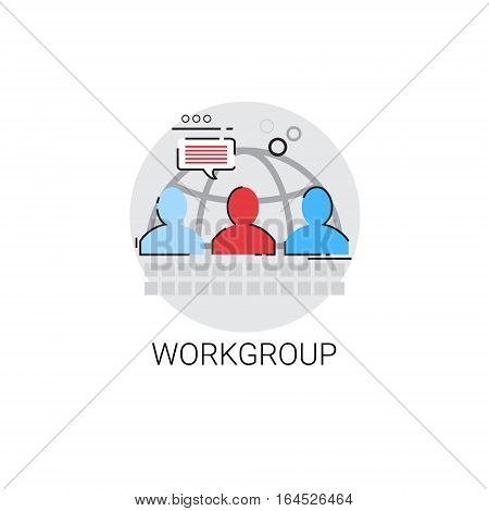 Work Group Management Business Team Leadership Icon Vector Illustration