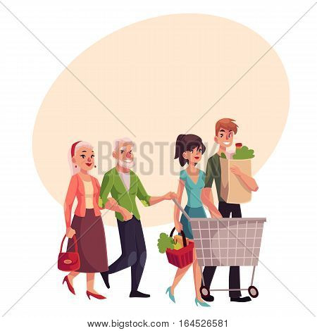 Old and young couples shopping together, buying food in grocery store, cartoon vector illustration on background with place for text. Grandparents and grandchildren doing shopping together