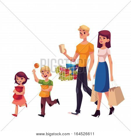 Family of father, mother, daughter and son shopping together, cartoon vector illustration isolated on white background. Family buying food, shopping, carrying bags and basket with grocery products