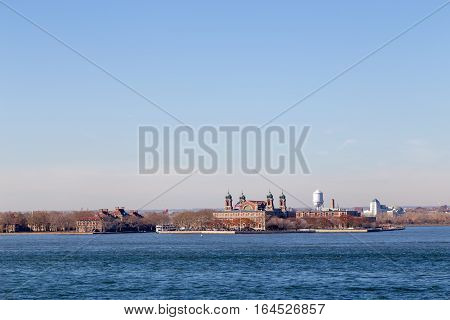 New York, United States of America - November 18, 2016: View of historical Ellis Island in New York harbor