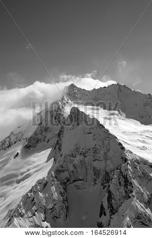 Black And White View On High Winter Mountains In Snow