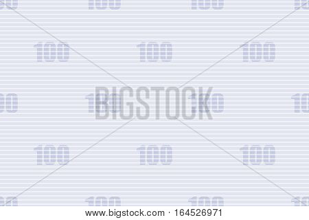 Guilloche seamless background. Monochrome guilloche texture with text 100. Digital watermark for security papers certificates vouchers banknotes money designs currency etc