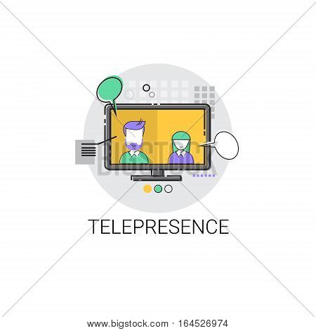 Telepresence Virtual Reality Visual Technology Icon Vector illustration