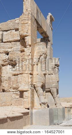 PERSEPOLIS, IRAN - OCTOBER 6, 2016: Reliefs on the gate to the ancient city of Persepolis, historical site close to Shiraz on October 6, 2016 in Iran, Asia