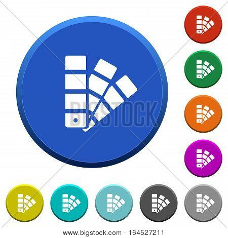 Color swatch round color beveled buttons with smooth surfaces and flat white icons