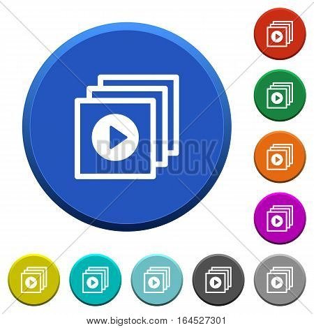 Play files round color beveled buttons with smooth surfaces and flat white icons