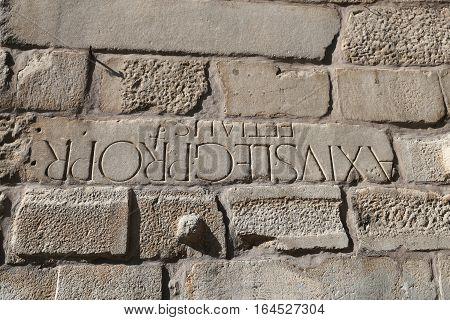 Writing Over Tower Of Ankara Castle, Turkey