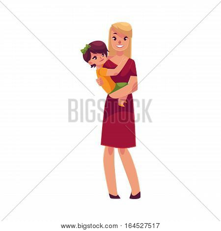 Happy mother holding her son in hands, cartoon vector illustrations isolated on white background. Pretty young smiling woman with little son in her hands, happy family concept