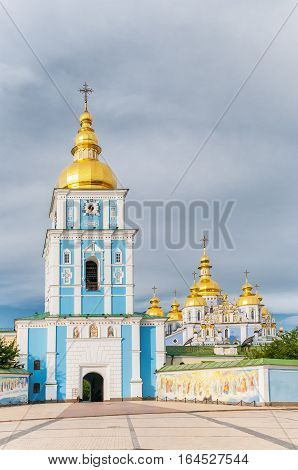 view of the St. Michael's Golden-Domed Monastery. Kiev, Ukraine, famous church complex summer day with beautiful blue sky