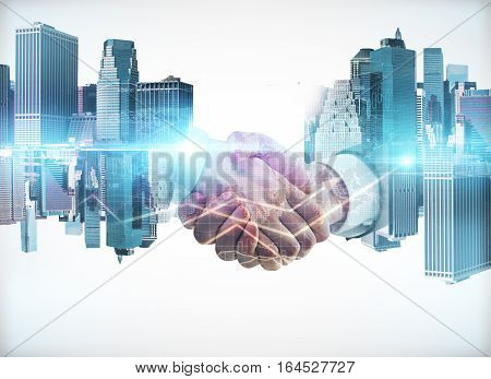 Businessmen shaking hands on abstract city background. Double exposure. Teamwork concept