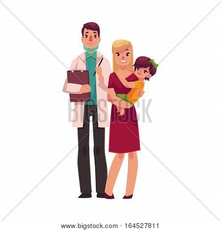Family doctor with motherand son standing together, cartoon vector illustration isolated on white background. Full length portrait of family male doctor in white lab coat, teenage boy and his mother
