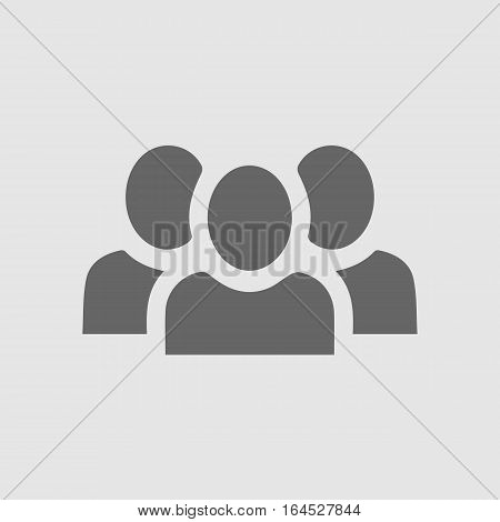 Teamwork vector icon eps 10. Three businessman silhouette. Team of people.