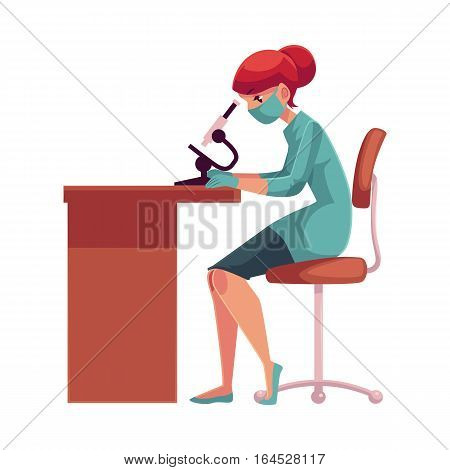 Lab, laboratory assistant, technician wearing medical mask and rubber gloves sits at the table and looks into microscope, cartoon vector illustration isolated on white background. Female laboratorian