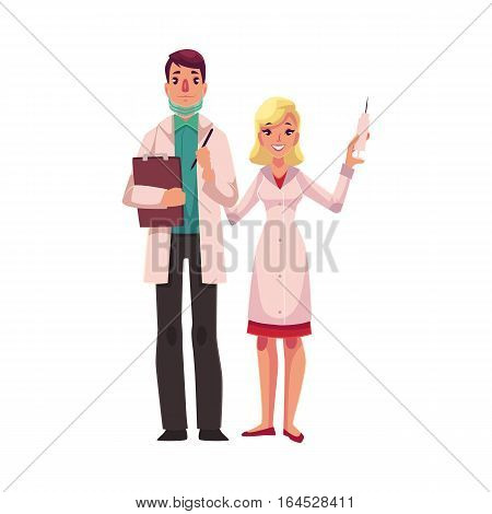 Doctor holding clipboard and anesthetist with syringe and pills, cartoon vector illustration isolated on white background. Male doctor and female assistant, anesthetist, health care professionals