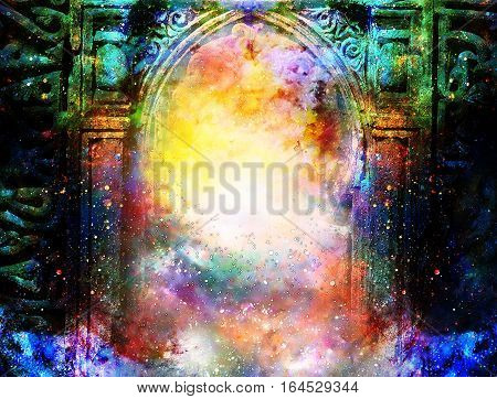gate portal entrance with ornamental structure in cosmic surroundings