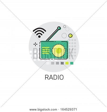 Radio Set Broadcast Telecommunication Icon Vector Illustration