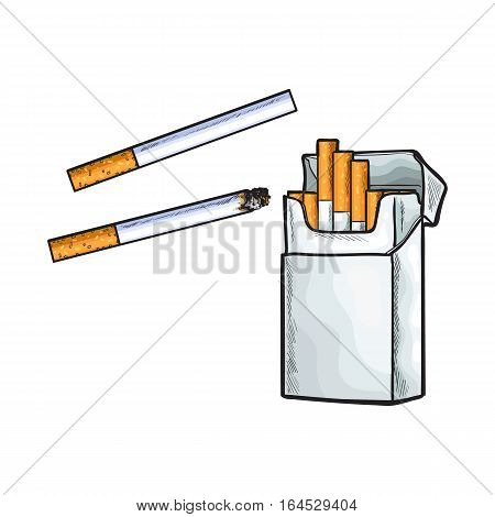 Unlabeled standing open pack of cigarettes, sketch vector illustration isolated on white background. Realistic hand-drawing of open unlabeled pack with unlit cigarettes