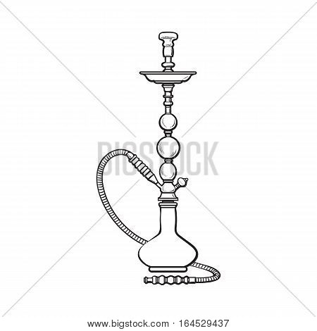 Blue Eastern, Turkish, Arabic, Persian glass and metal hookah, sketch vector illustration isolated on white background. Realistic hand-drawing hookah, smoking attribute