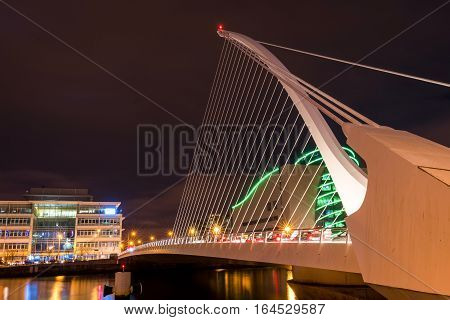 Dublin, Ireland - 8 Jan 2017:    The Samuel Beckett Bridge on the River Liffey in Dublin, Ireland. Docklands.