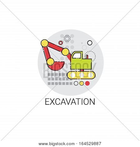 Excavation Bulldozer Machine Building Icon Vector Illustration