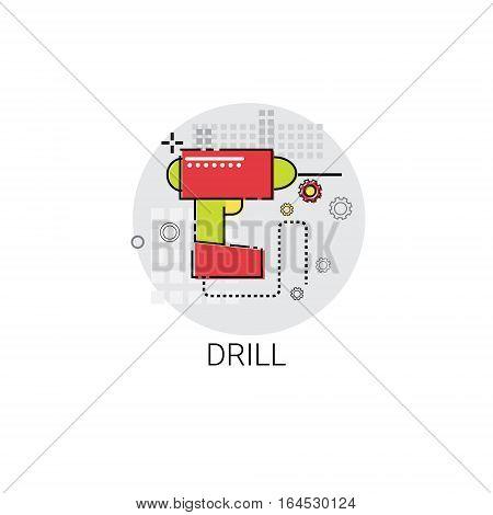 Drill Tool Building Construction Engineering Icon Vector Illustration