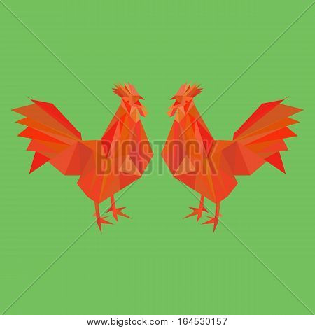 Vector Red Fire Rooster in low poly style. Happy New Year 2017 card with space for text. Chinese New Year Symbol Rooster.