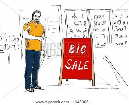 Seller showing stand Big Sale. Hand-drawn sketch
