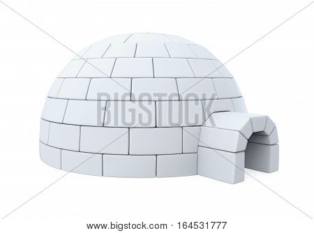 Igloo Ice House isolated on white background. 3D render