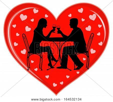 A vector illustration with silhouettes of a young couple sitting on chairs at a small  table, toasting each other with glasses of wine, in front of a big red heart and lots of little hearts as background.