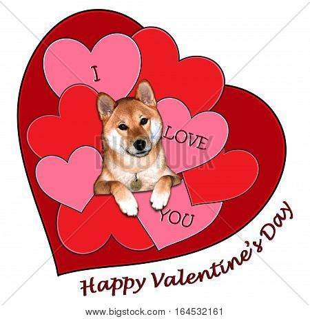 A Valentine card with a dog in front of red heart shapes with the message I Love You and Happy Valentine's Day.