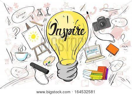 Inspiration Light Bulb Idea Creative Concept Doodle Sketch Hand Draw Background Business Brainstorming Infographic Vector Illustration
