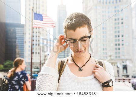 Young Woman Portrait In Chicago With Usa Flag On Background