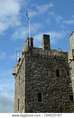 A view of the tower and saltire at Elcho castle