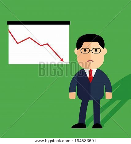 A businessman or manager thinking, Down arrows, statistic financial graphic, Vector illustration in flat style isolated on the background