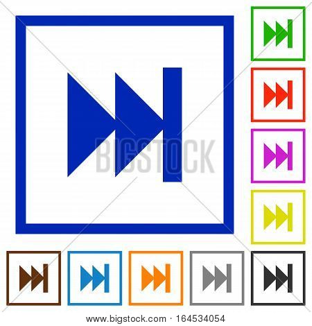 Media fast forward flat color icons in square frames on white background