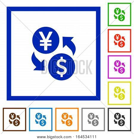 Yen Dollar money exchange flat color icons in square frames on white background