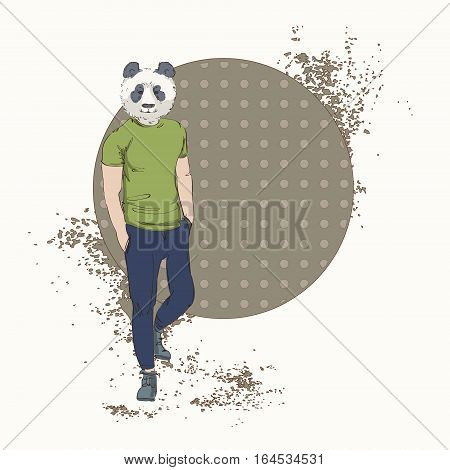 Cartoon Panda Bear Hipster Wear Fashion Clothes Retro Abstract Background Vector Illustration