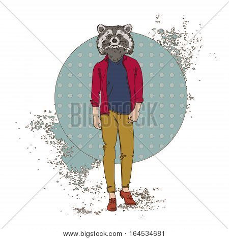 Cartoon Raccoon Hipster Wear Fashion Clothes Retro Abstract Background Vector Illustration