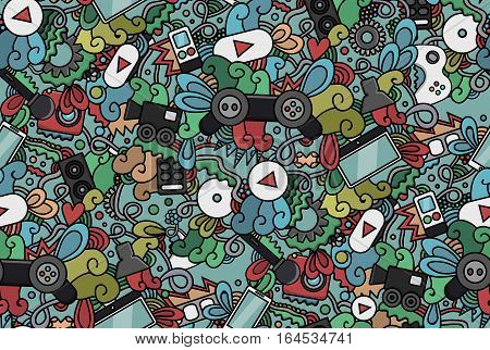 Vector hand drawn doodle seamless pattern of video gaming, let's play and cinema for cover design, business card, envelope, letterhead, brochure and book. Realistic corporate identity brand template.