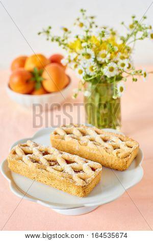 Rustic mini apricot tart on a summer table